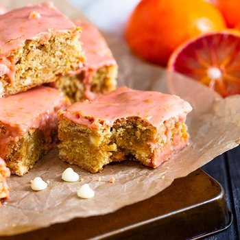 Blood Orange and White Chocolate Blondies