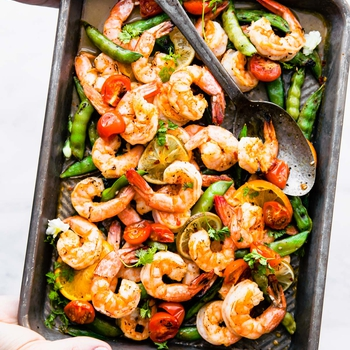 Sweet and Spicy Broiled Shrimp (Sheet Pan Meal)