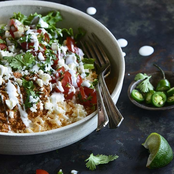Chorizo Refried Bean Burrito Salad Bowls with Queso Fresco