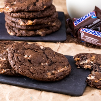 Snickers Cookies (with Triple Chocolate)