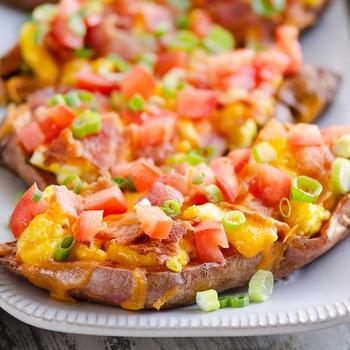 Air Fryer Breakfast Sweet Potato Skins