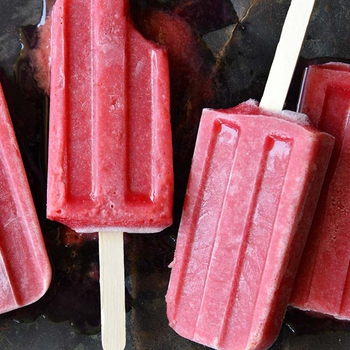 Roasted Plum Rosé Popsicles with Cardamom