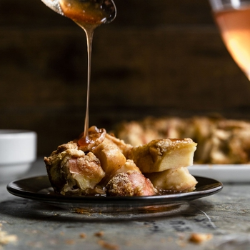 Easy Squeezy Caramel Apple Pie baked in cast iron