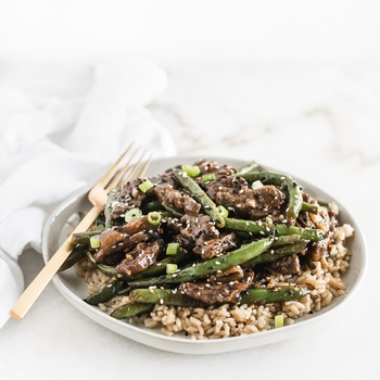 Easy Sesame Ginger Beef and Green Beans
