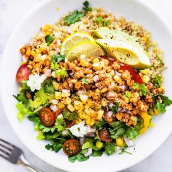 BBQ Tempeh Vegan Quinoa Salad