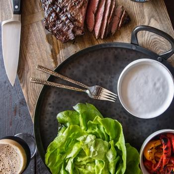 Honey Stout Glazed Flank Steak Lettuce Wraps