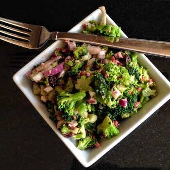 Vegan Broccoli Salad with Coconut Bacon