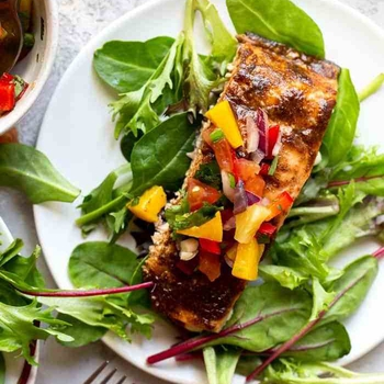 Jerk Salmon with Pineapple Salsa