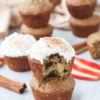 Gluten Free Apple Cinnamon Muffins with Coconut Cream Frosting