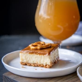 Dulce de Leche Beer Cheesecake Bars with Brown Sugar Pretzel Crust
