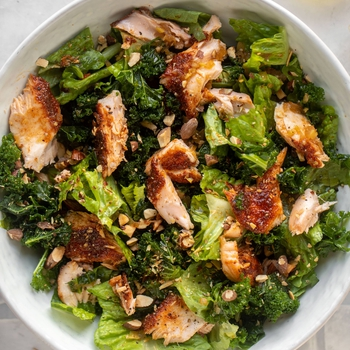Roasted Salmon Salad with Hot Ginger Vinaigrette.
