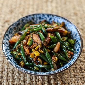 Stir Fried Green Beans, Corn and Mushrooms