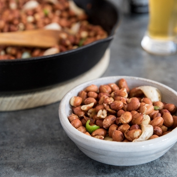 Pan Fried Spicy Garlic Peanuts