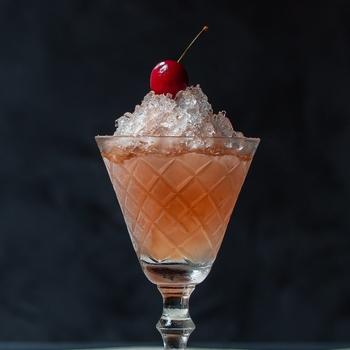 Cherry shrub brandy daisy: pickle cocktail