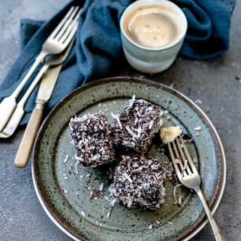 Chocolate Lamingtons (gluten and dairy free)