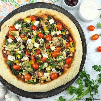 Vegan Greek Pizza with Tofu Feta