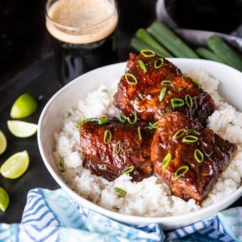 Hoisin Pineapple Beer Pork over Coconut Lime Rice