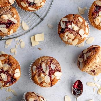 White Chocolate Cherry Sourdough Muffins