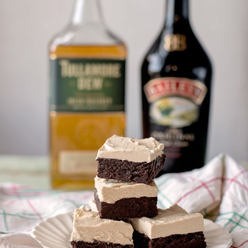 Boozy Irish Brownies with Irish Cream Whiskey Ganache