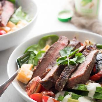 Low Carb Steak Fajita Caesar Salad