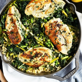 One Skillet Lemon Goat Cheese Stuffed Chicken and Spring Orzo