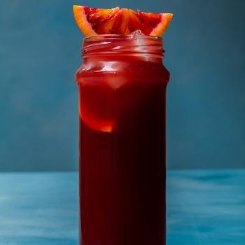 Pickle blood orange Americano cocktail