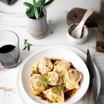 Beef & Carrot Dumplings With Chilli Black Vinegar Sauce